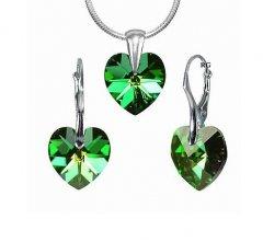 Souprava Swarovski CRYSTALLIZED™ srdce 14 mm zelená duhová