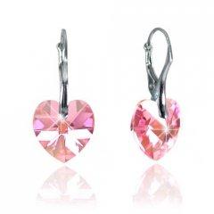 Náušnice Swarovski CRYSTALLIZED™ srdce 14 mm růžová