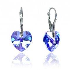 Náušnice Swarovski CRYSTALLIZED™ srdce 14 mm modrá