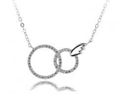 Stříbrný náhrdelník - spojené kruhy se zirkony