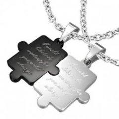 Ocelový přívěsek pro partnery - puzzle s nápisem černá