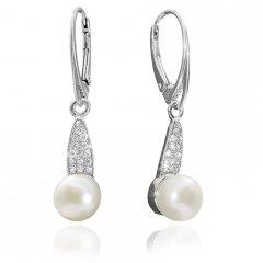 Stříbrné visací náušnice s pravou perlou