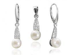 Stříbrná souprava s pravými bílými perlami