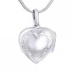 Stříbrný otvírací medailon srdce s rytinou 16 mm