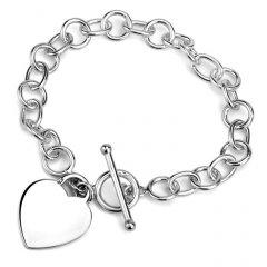 Stříbrný náramek s motivem srdce