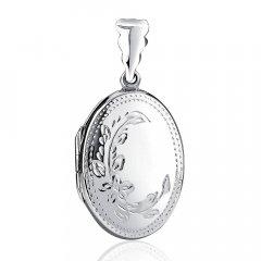 Stříbrný otvírací medailon ovál s květinou 27 mm