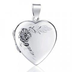 Stříbrný otvírací medailon srdce s květinou 22 mm