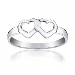 Stříbrný prsten dvě srdce