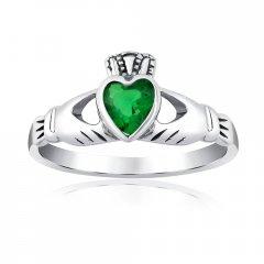 Stříbrný prsten CLADDAGH se zeleným zirkonem
