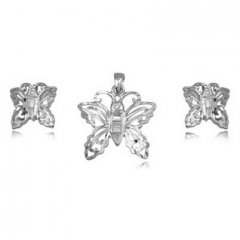 Stříbrná souprava náušnic a přívěsku - motýlek