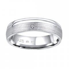 Stříbrný snubní prsten AMORA se zirkonem