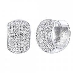 Luxusní stříbrné náušnice - široké kruhy se zirkony