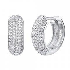 Luxusní stříbrné náušnice - kruhy se zirkony