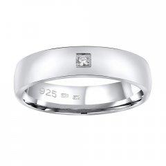Stříbrný snubní prsten POESIA se zirkonem