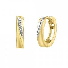 Zlaté náušnice - kruhy se zirkony 3 mm