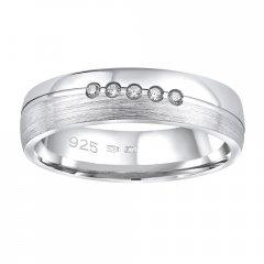 Stříbrný snubní prsten PRESLEY se zirkony