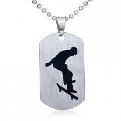 Ocelový přívěsek Skateboard s řetízkem 60 cm