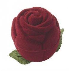 Krabička na prsten sametová růže červená