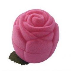 Krabička na šperky sametová růže růžová
