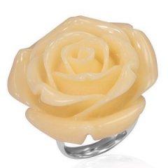 Ocelový prsten - růže smetanová