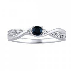 Stříbrný prsten s přírodním safírem a zirkony