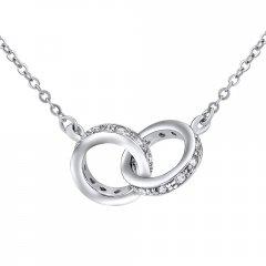 Stříbrný náhrdelník dva spojené kruhy TOGETHER FOREVER