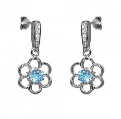 Stříbrné náušnice - květiny s modrým zirkonem