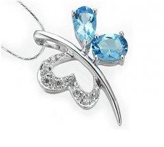 Stříbrný přívěsek - modrý motýlek
