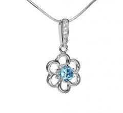 Stříbrný přívěsek - květina s modrým zirkonem