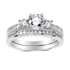 Dvojitý stříbrný prsten Swarovski Zirconia
