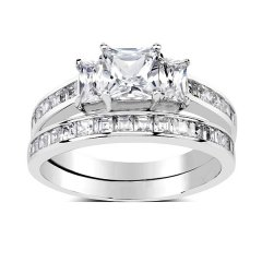 Luxusní dvojitý stříbrný prsten Swarovski Zirconia
