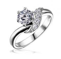 Decentní stříbrný prsten se zirkony Swarovski™