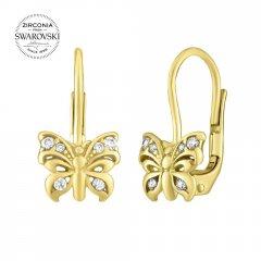 Zlaté náušnice - motýlci se Swarovski® Zirconia