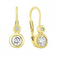 Zlaté náušnice s kulatými zirkony - lucky
