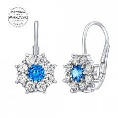Stříbrné náušnice květiny se zirkony Swarovski® modré