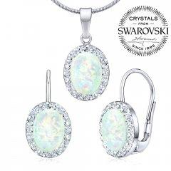 Stříbrná souprava s oválným opálem a zirkony Swarovski®