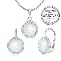 Stříbrná souprava s kulatým opálem a zirkony Swarovski®