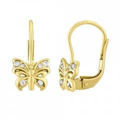 Zlaté náušnice - motýlci se zirkony