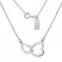 Stříbrný náhrdelník s propojenými srdíčky