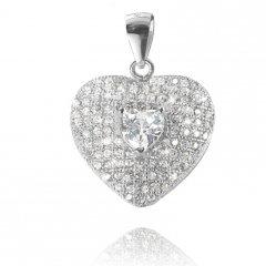 Luxusní stříbrný přívěsek - srdce 17 x 17 mm