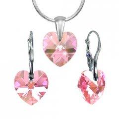 Souprava Swarovski CRYSTALLIZED™ srdce 14 mm růžová