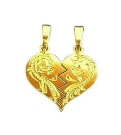 Zlatý přívěsek - srdce pro pár s rytinou