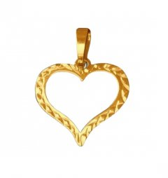 Zlatý přívěsek srdce prořezávané s rytinou