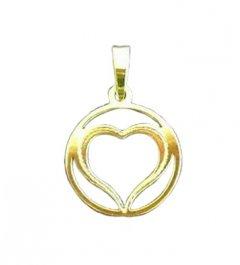 Zlatý přívěsek - srdce v kruhu