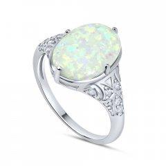 Stříbrný prsten s oválným bílým opálem