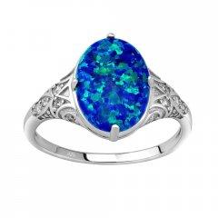 Stříbrný prsten s oválným modrým opálem