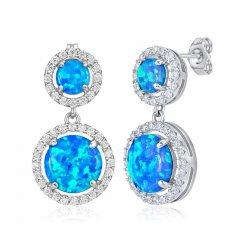 Stříbrné náušnice Azuria s modrým opálem