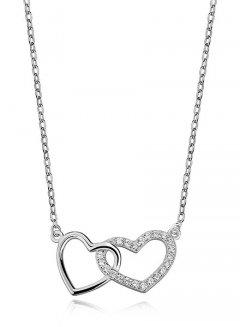 Stříbrný náhrdelník - spojená srdce