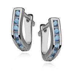 Stříbrné náušnice pro dívky - modrá