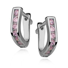 Stříbrné náušnice pro dívky - růžová